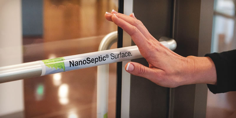 Nanoseptic treated handle